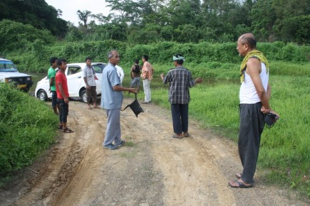 President, CORE's Elders' Council inspecting potential site for Mini-Hydro project at Khangbor River with Community and Church leaders, Khangbor village, Tipaimukh Sub-Division, Churachandpur district, Manipur